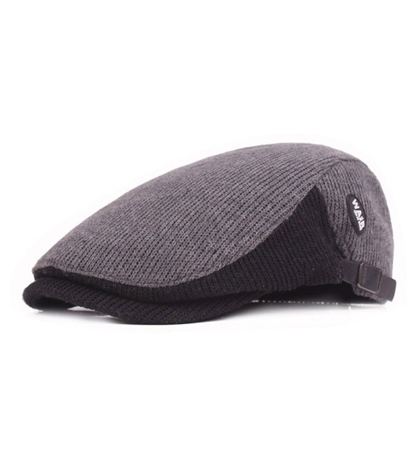 ZLSLZ Mens Knitted Flat Ivy Newsboy Cabbie Gatsby Painter Beret Golf Hats Caps - Grey - CX186LGLZOE
