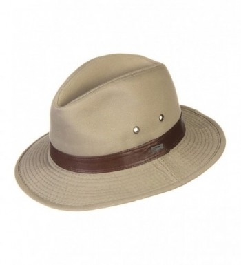 Washed Twill Safari Hat with Leather Band - CF11QLIDMVL