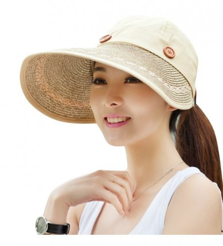 Kaisifei Women's Visor Hat With Big Brim - Wheaten - CW125Q7NG4F