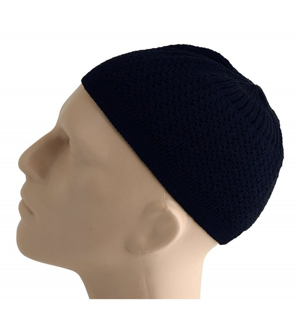 Elastic Kufi Hat Skull Cap Beanies with Wavy Threading in Multiple Designs and Colors - Navy Blue - CL12NUCPBTQ