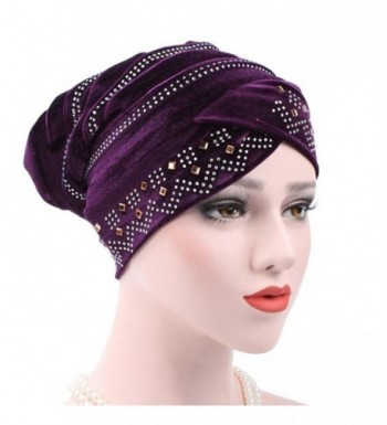Binmer(TM) Women Muslim Stretch Turban Hat Velvet Hair Loss Head Scarf Wrap - Purple - CM186SACIY2