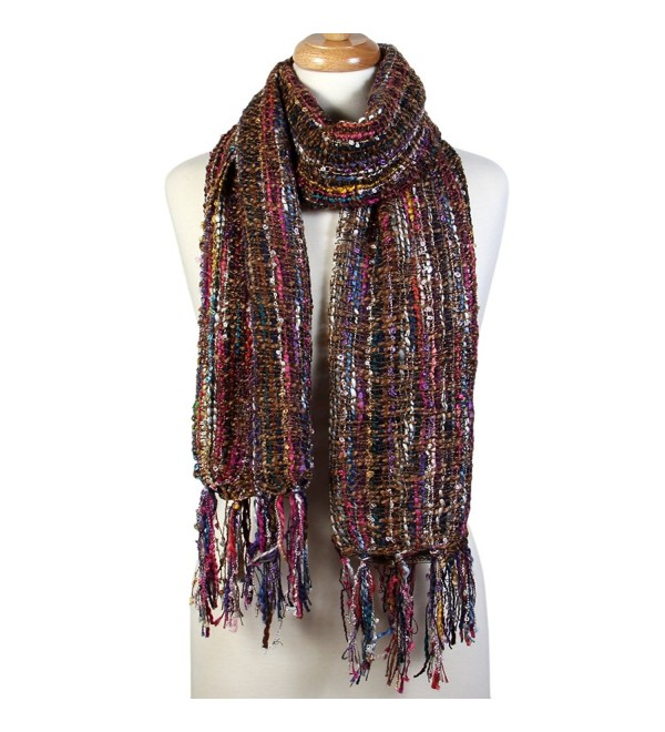 Scarfand's Multi-string Mixed Color Weave Thick Winter Long Scarf Shawl - Brown - C6187CWY5H8