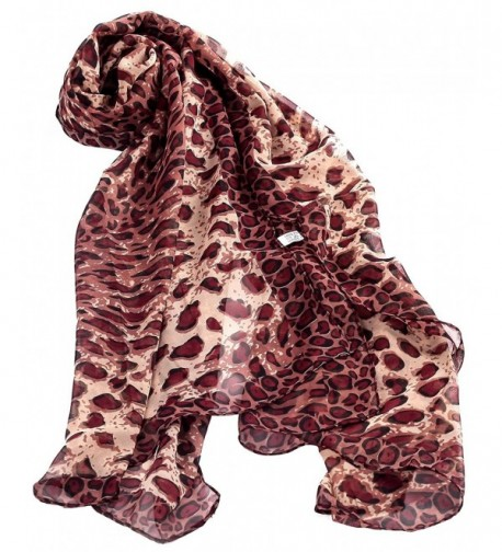Jemis Women' s Youngful Leopard Silk Scarf 165*52CM - Brown - CU11QJSVC65