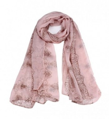 DZT1968 Women Girl National Style Long Slim Voile Shawl Scarf Pashmina - Pink - CX126P40F8N