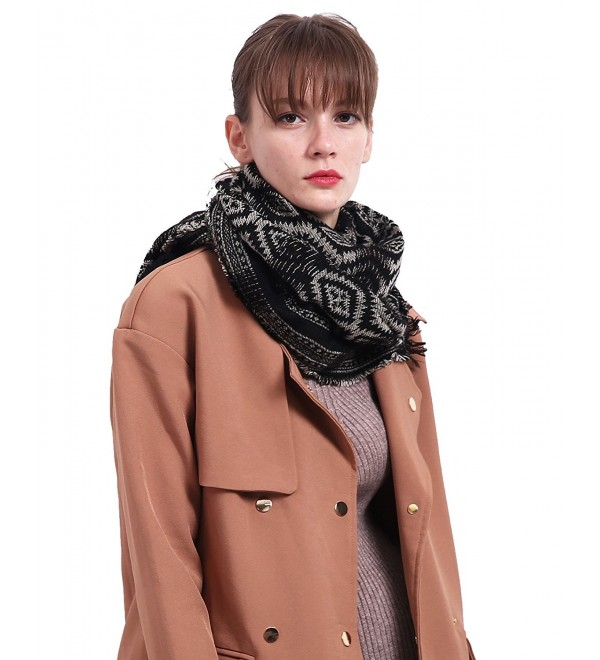Wool Scarfs for women Ethnic Shawls and Wraps With Tassel Gradient Color - Black - CH187CLA7HT