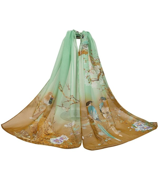 X&F Women's Birds Floral Long Chiffon Scarf Girls Summer Decorative Scarves - Coffee - CH12LAYMIVT