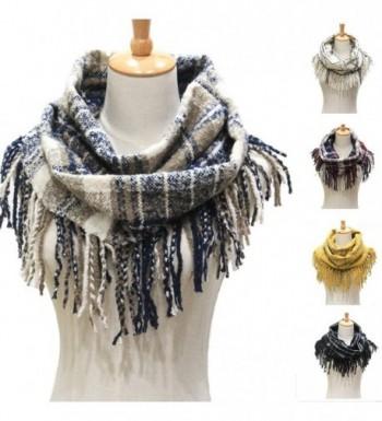 Winter Women Warm Plaid Infinity Scarf-Fashion Ladies Tassel Thick Loop Scarves - Navy - CI186R0Y3SN
