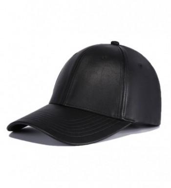 FayTop Unisex PU Leather Cap Adjustable Baseball Hat Cap Snapback Cap V61B039-US - V61b039-black - CJ1880Z72A3
