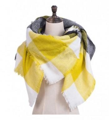 Fanii Quare Women's Plaid Blanket Stole Pashmina Cozy Tartan Scarf - Yellow - CE188SRERSC