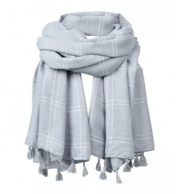 FITIBEST Women Linen Scarf Fashionable Plaid Shawl Winter Long Scarves with Tassels - Grey - CT186HC83S9