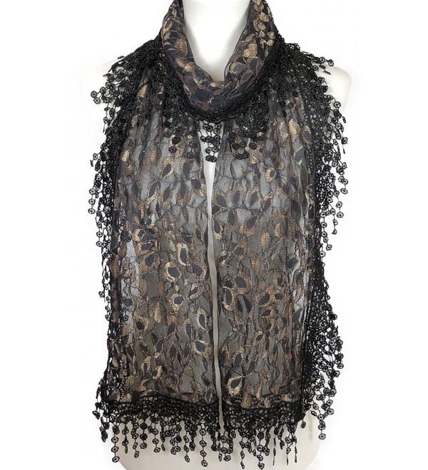 Cindy and Wendy Lightweight Soft Leaf Lace Fringes Scarf shawl for Women - Gold/Black - CC180S54I8Y
