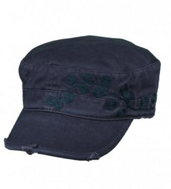 Dorfman Pacific Women's Cotton Vine Embroidery Military Cadet Hat - Navy - CW11ZE95FB3