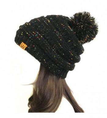 Wrapables Warm Knit Confetti Beanie with Pom Pom- Black - C712NEPWP77