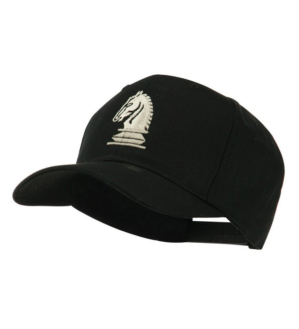 Chess Piece of a Knight Embroidered Cap - Black - CP11HVOBDPV