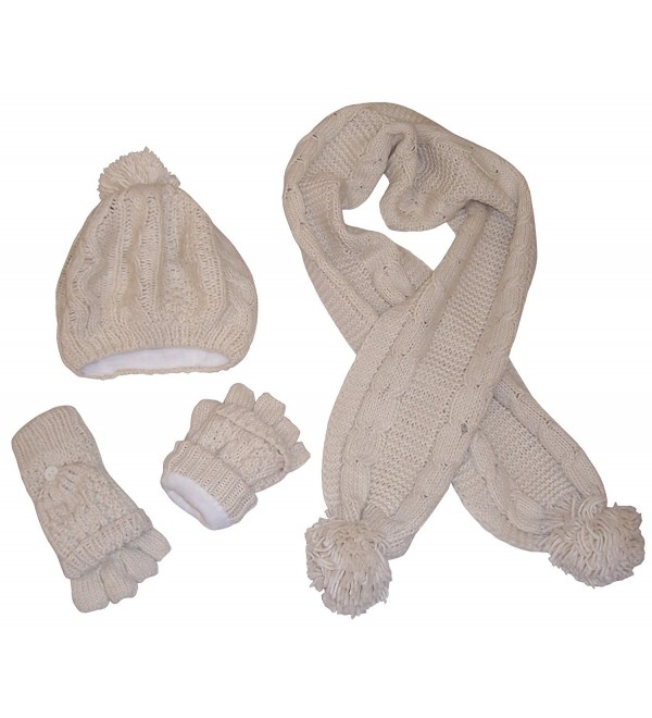 N'Ice Caps Women's Bulky Cable Knit Hat/Scarf/Converter Glove Set - Winter White - CL12OCOFWHI