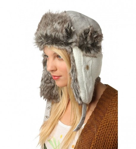 Urban Outfitters Wool Faux Fur Comfortable Warm Cute Winter Trapper Aviator Hat - Knitted White/Grey - CS1860UMTMI
