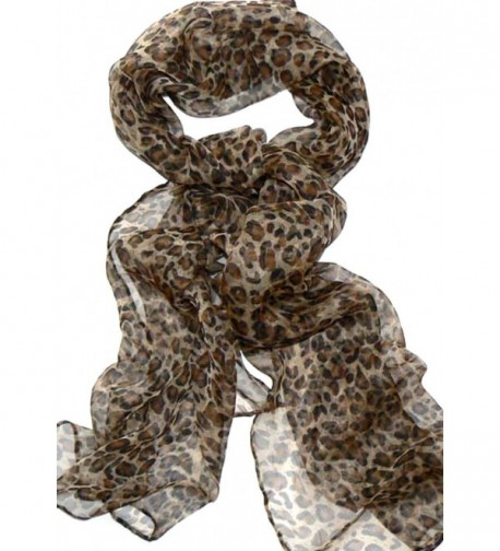Silk Salon Oblong 100% Silk Scarf Belt Hand Rolled Leopard Prints Brown A722 - C611HSOQVIN