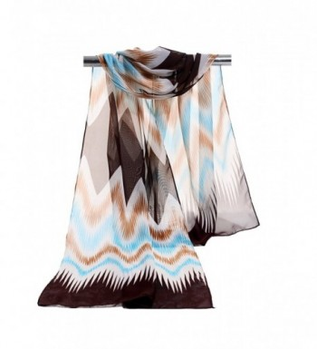 E-Clover Lightweight Chiffon Sheer Scarves: Womens Fashion Striped Print Scarf Wrap - Khakiblue - CD12MZGUD73