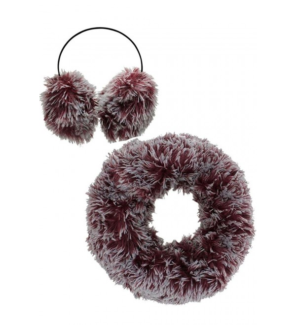 Two-Tone Faux Fur Infinity Scarf & Earmuff Set - Burgundy - CZ128O8QC67