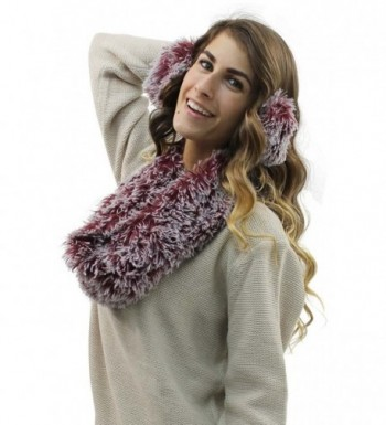 Burgundy Plush Infinity Scarf Earmuff in Cold Weather Scarves & Wraps