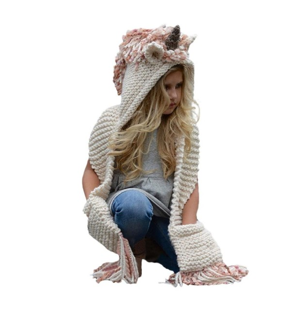 Highpot Kids Unicorn Winter Crochet Hat with Scarf Pocket Hooded Knitting Beanie - B - CT187N2WQMC