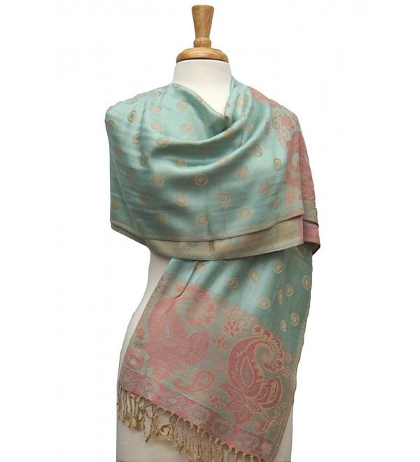 Fashmina Paisey Ring Pashmina Shawl Scarf - Honeydew/Beige - CK1864M2X2S