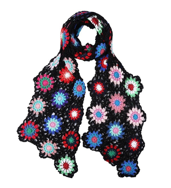 ZORJAR Winter Knitted Fashion Scarf for Women Handmade Crochet Colorful Flower - Black - CH12NZ00ASG