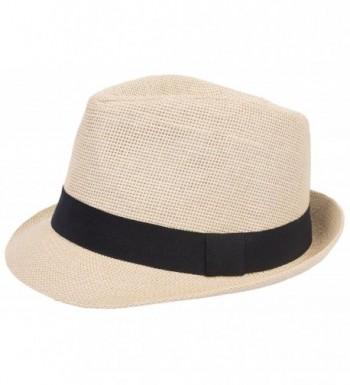DRY77 Mens Womens Straw Summer Short Brim Fedora Hat Trilby Beach Gangster Hot - Beige - CL11LXULIQD