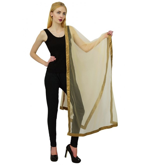 Net Chunni Indian Dupatta Women Fashion Scarves Ethnic Long Stole - Beige - CP123X5WAZR