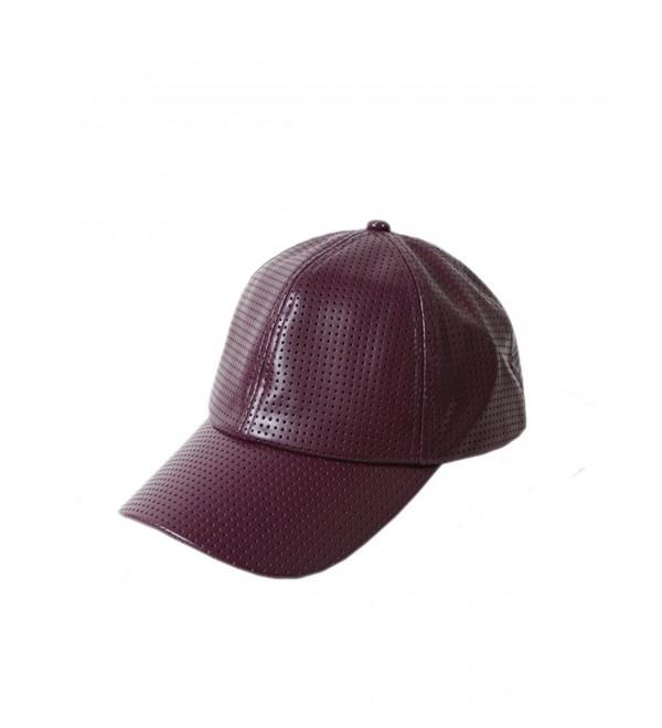 D&Y Women's Perferated Pleather Baseball Cap - Wine - CO12FH5EK19