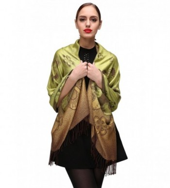Women's Large Soft Silky Pashmina Shawl Wrap Scarf Elegant Colors - Green-c084 - CX185X8050X