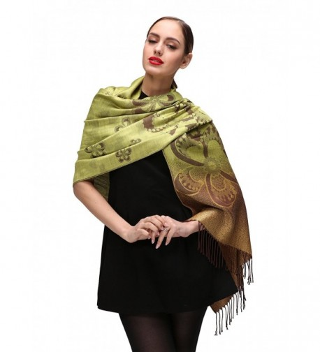 Womens Pashminas Shawls Wedding Green c084