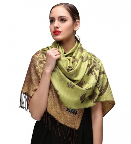 Womens Pashminas Shawls Wedding Green c084 in Wraps & Pashminas