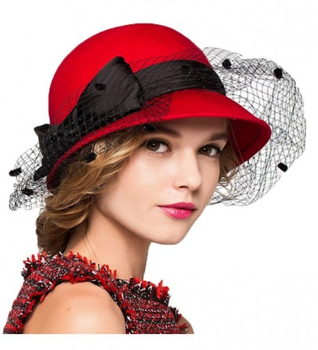 Maitose Women's Bow Wool Felt Bowler Veil Hat - Red - CX128NIYW5B