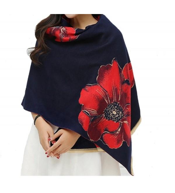 Fashion cashmere pashmina winter scarfs for women - Navy Blue&red - CM1882MXLWU