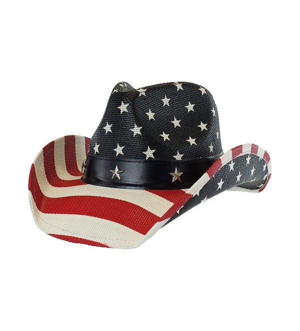 USA Shapeable Brim Cowboy Hat w/ Vegan Leather Stars & Stripes Band- Patriotic - C0125R49JY3