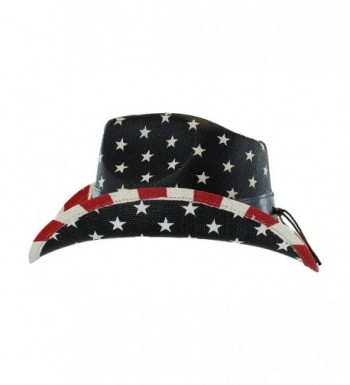Shapeable Cowboy Leather Stripes Patriotic in Men's Cowboy Hats