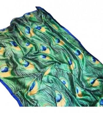 X&F Women's Fashion Peacock Feather Prints Long Scarf Summer Wrap Shawls - CN17YHHR6GX