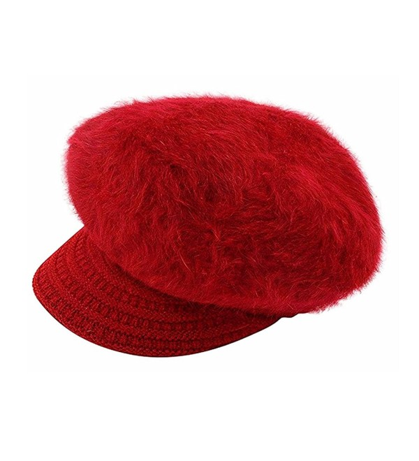 Editha Women Faux Rabbit Fur Knit Beanie Hat Winter Warm Fleece Lined Skull Cap Skullies Beanies - Red - C8188C2KIWL