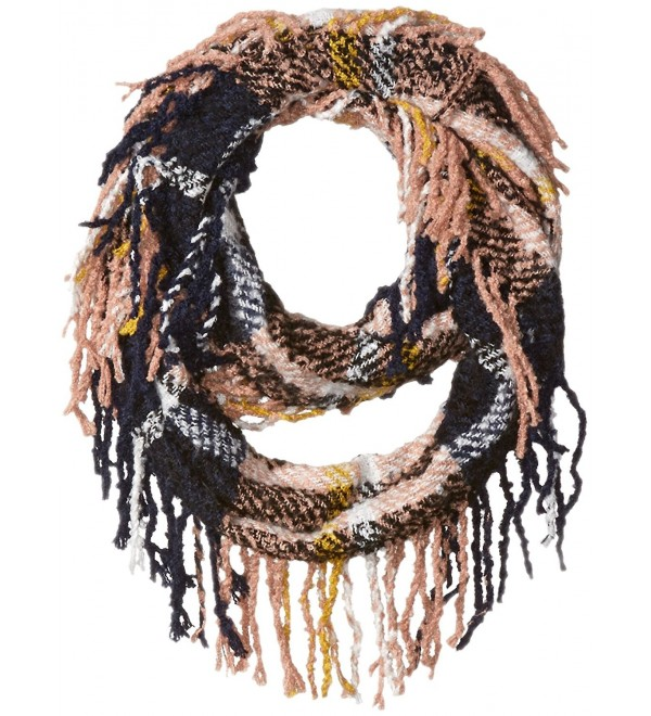 D&Y Women's Boucle Plaid Woven Loop Scarf with Fringe - Pink - CF12JOP7WWH