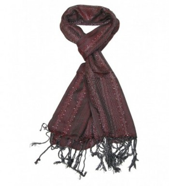 Womens Scarf Red and Grey - Glittering stylish party winter scarfs for ladies - C212NFII356