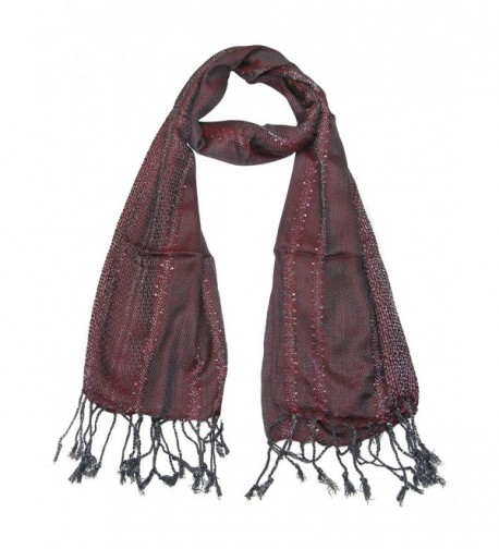 Womens Scarf Red Grey Glittering