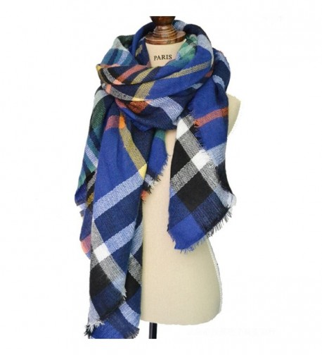 Women's Cozy Tartan Scarf Wrap Shawl Neck Stole Warm Plaid Checked Pashmina - Blue - C5126MSZVQ3