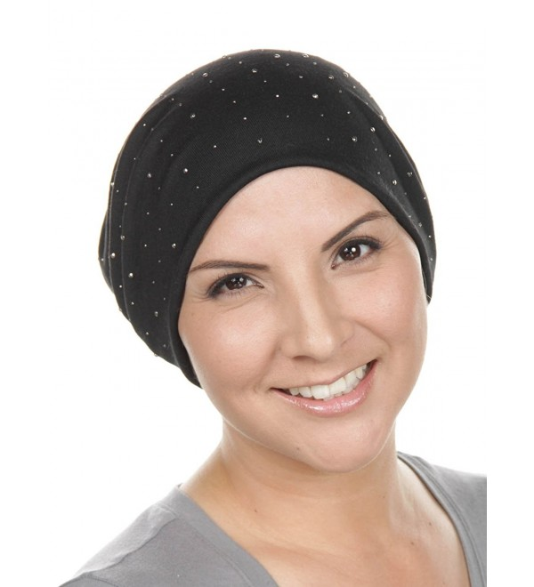 99aede9a Warm Soft Knit Slouchy Cancer Beanie Cap Dual Layered All Over Rhinestone  Chemo Winter Hat -