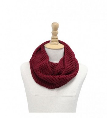 Unisex Hollow Out Knitted Circle Scarf - Dark Red - C311DO519SH
