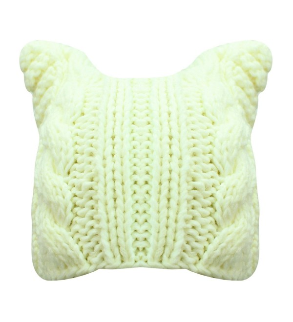 Luxury Divas Thick Cable Knit Beanie Hat With Pussy Cat Ears - Cream - C5187C7MTT5