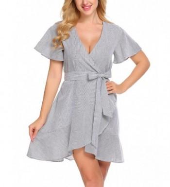 SE MIU Women V-Neck Short Ruffles Sleeve Casual Flared Wrap Dress With Belt - Black White - CL1888G7ZX4