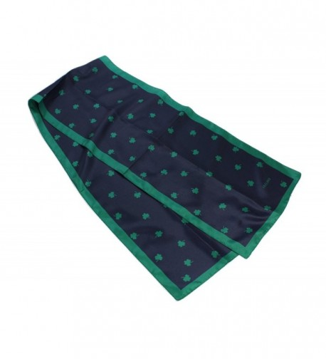 "Shamrock Scarf 10"" x 52"" Navy Polyester Made in Ireland - C811JSIG1TB"