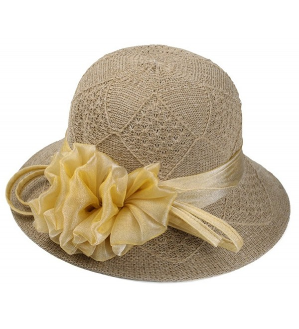 ChezAbbey Summer Cloche Floppy Fascinator Derby Hat Wide Brim Tea Party Church Sun Hat For Women - Coffee - CY18254KYZ8