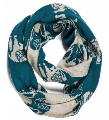 Aoloshow Winter Knitted Infinity Scarf Elephant Scarves Neck Warmer - B Teal Blue - CR126G93MRD